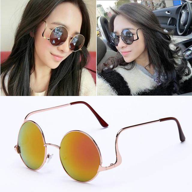 Get Quotations · Steampunk Bending Sunglasses Sonnenbrille Man Women  Coating Outdoor Fashion Driving Circle Glasses Oculos De Sol S15067Gafas 24fce8f9c2