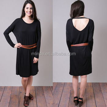 Wholesale Lady Fancy Plain Tunic Simple Style Dress Long Dolman Cut