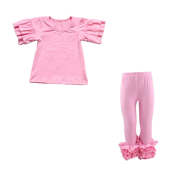 High quality baby icing ruffle leggings pants set with round collar various tops children fresh pretty clothes
