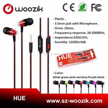 Woozik Hot Selling Cheap Stereo Bullet Earphone 2017 Fashion In-ear Disposable Earbuds With Mic