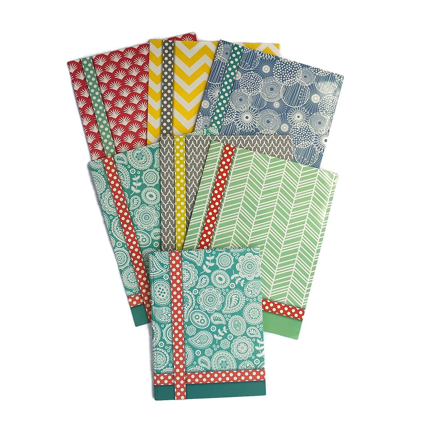 Colorful Pattern Design Belle School Supply Bundle: 7 Items: Seven Assorted Belle School Subject Folders, Plus One Matching Hardcover College Ruled Composition Notebook (Blue Notebook)