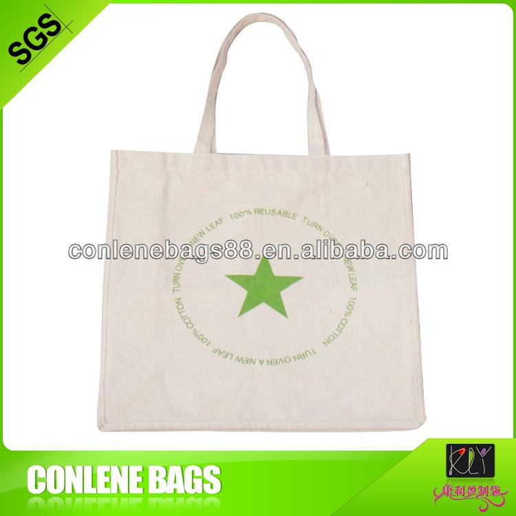 one color printed raw cotton shopping bag