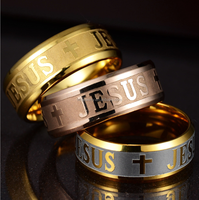 Hip hop mens jewelry stainless steel silver rose gold black gold jesus cross ring
