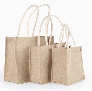 promotional customized recycle waterproof natural jute bag beach shopping bag