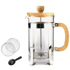 Christmas Gift Heat-resistant Borosilicate Glass 350ML Bamboo French Press Coffee Maker Plunger With Scoop