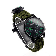 Outdoor Watch Whistle Multifunction 550 Handmade Paracord Bracelet with Compass
