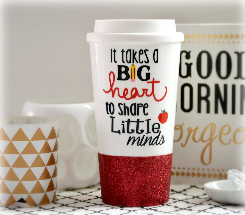 It Takes a Big Heart To Shape Little Minds, Teacher Gift, Teacher Mug, Custom Glitter Mug, Glitter Mug, Teacher Quote, Teacher Tumbler