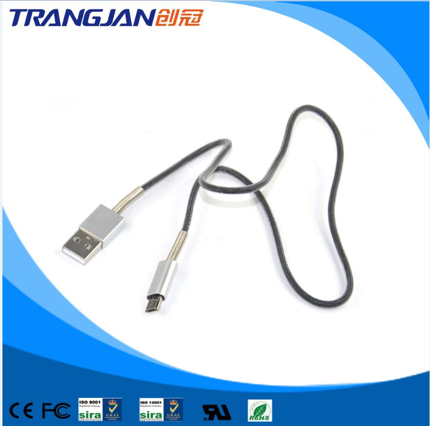 Hot selling Aluminum alloy spring protected fishnet USB cable