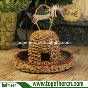Natural Hanging Hat Shape Grass Nest for Pet Birds House