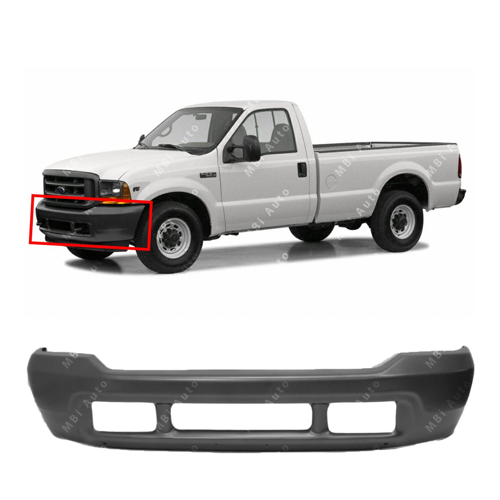 Chrome FO1101141 Steel Rear Step Bumper Assembly for 1999-2007 Ford F250 F350 Super Duty 99-07 MBI AUTO