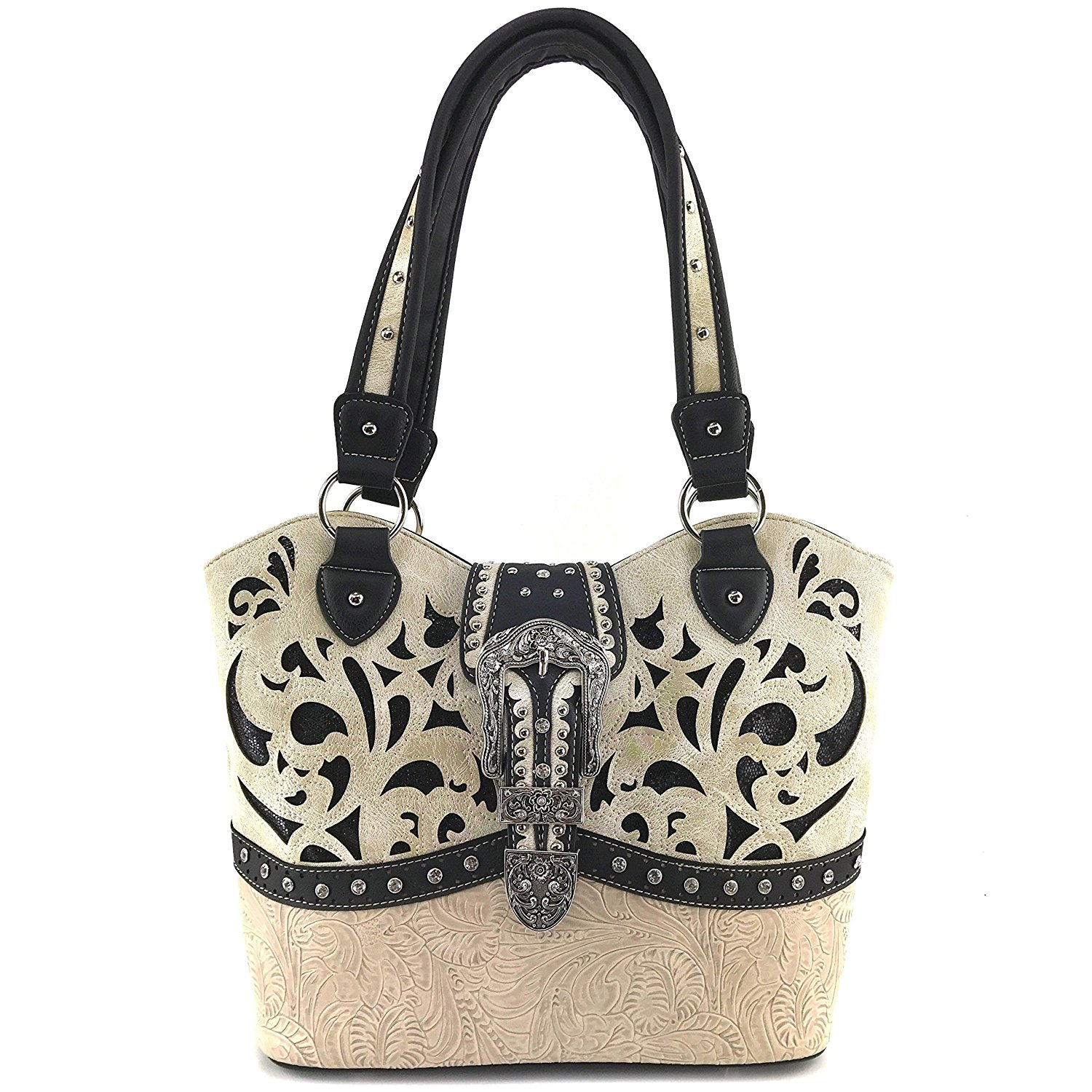 eca9546bfb0a Get Quotations · Justin West Tooled Laser Cut Leather Floral Embroidery  Rhinestone Buckle Studded Shoulder Concealed Carry Tote Style