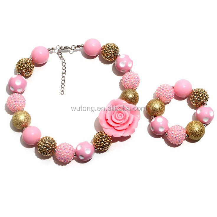 Girls Vintage PINK GOLDEN Flower Necklace with Bracelet Kids Chunky Choker Children Bubble Gum Jewelry Princess Jewelry Set