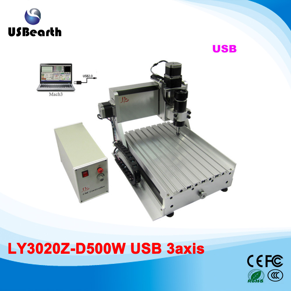 LY 3020Z-D500W 3axis cnc router machine with USB port wood metal stone cutting