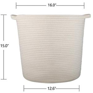 Home Decor Blanket Basket Nursery Bins Natural Cotton Thread Woven Rope Storage Basket Bin Hamper with Handles