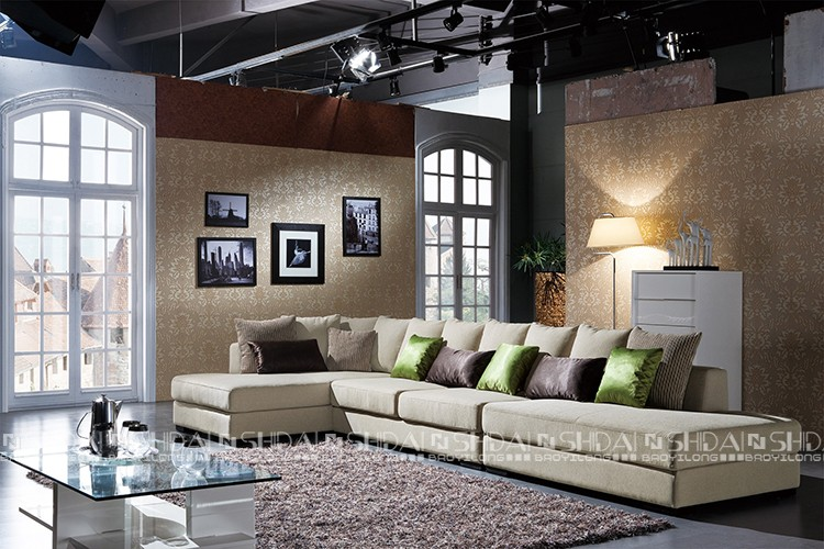 Unique European Style Sectional Sofa, Mini Kuka Home Wooden Sectional Sofa,  Exotic Arabic Sectional