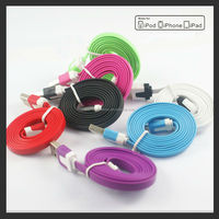 Colorful Flat noodle sync and charge usb cable for iPhone iPad Mini iPod Touch 5 Nano 7 ios9.0