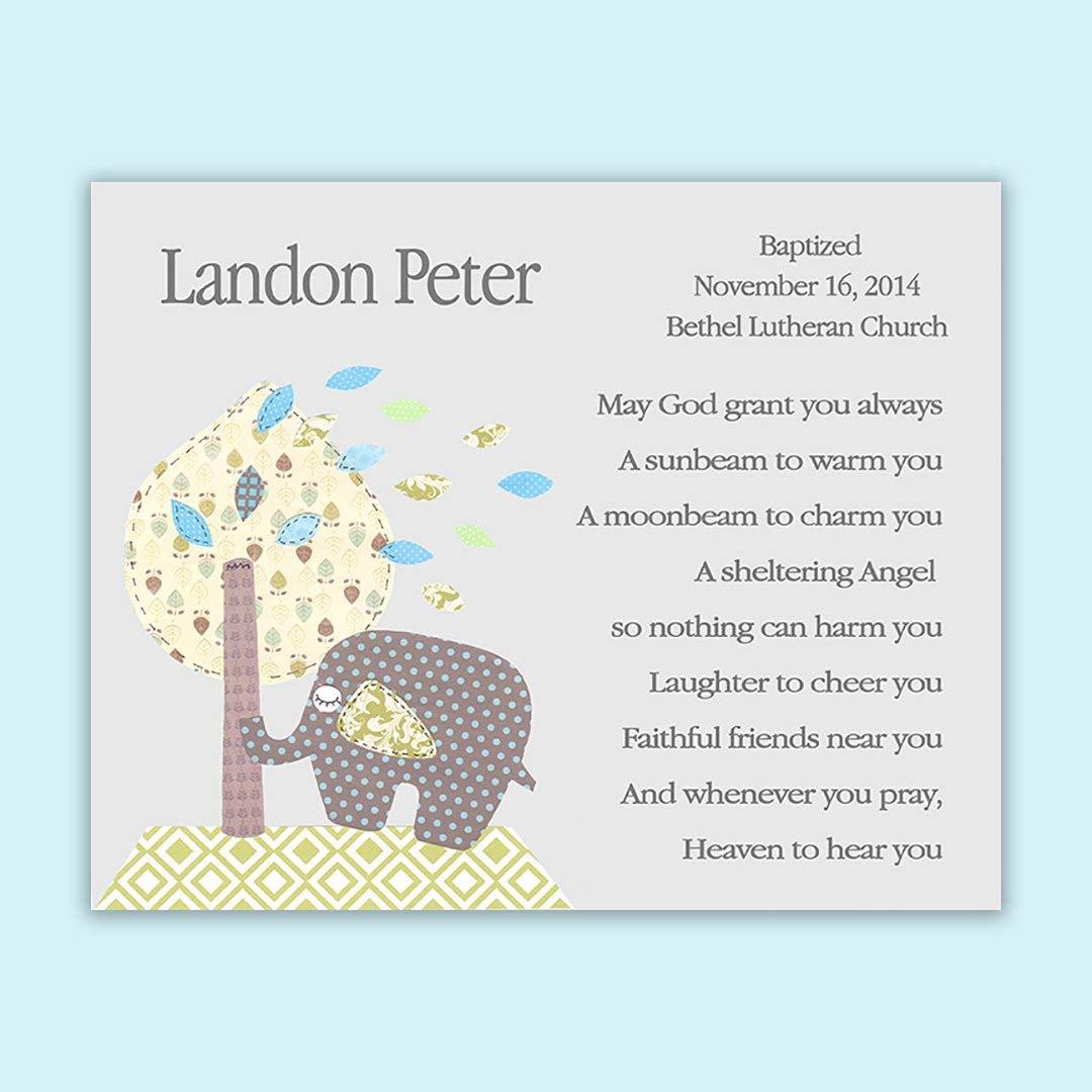 Baby Boy Gift -Baptism Gift - Personalized - Christening Gift for Godchild - Elephant - Baby Shower - Ellie - Tree - Blue Green & Gray - Nursery Art - Dedication - Baptism Gift from Godparents - PRINT