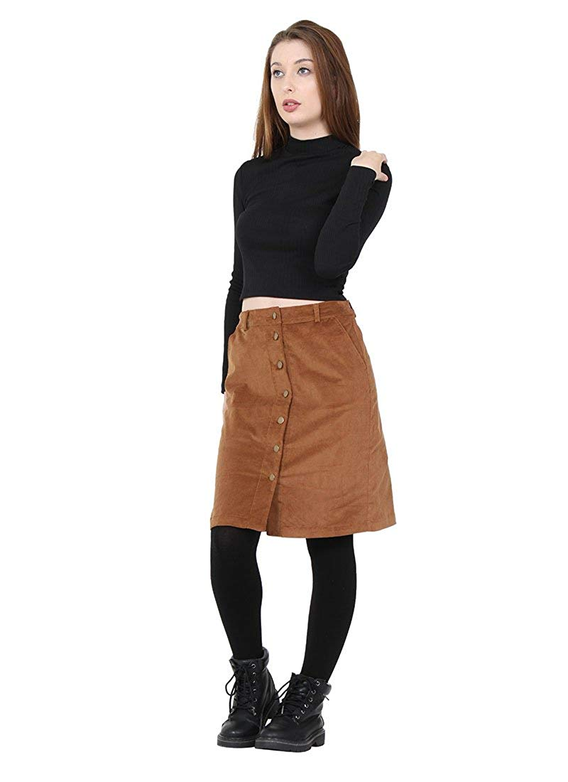 6149565f30ede6 Get Quotations · K Zell Button Front Corduroy Skirt knee-length ladies cord  skirt with stretch