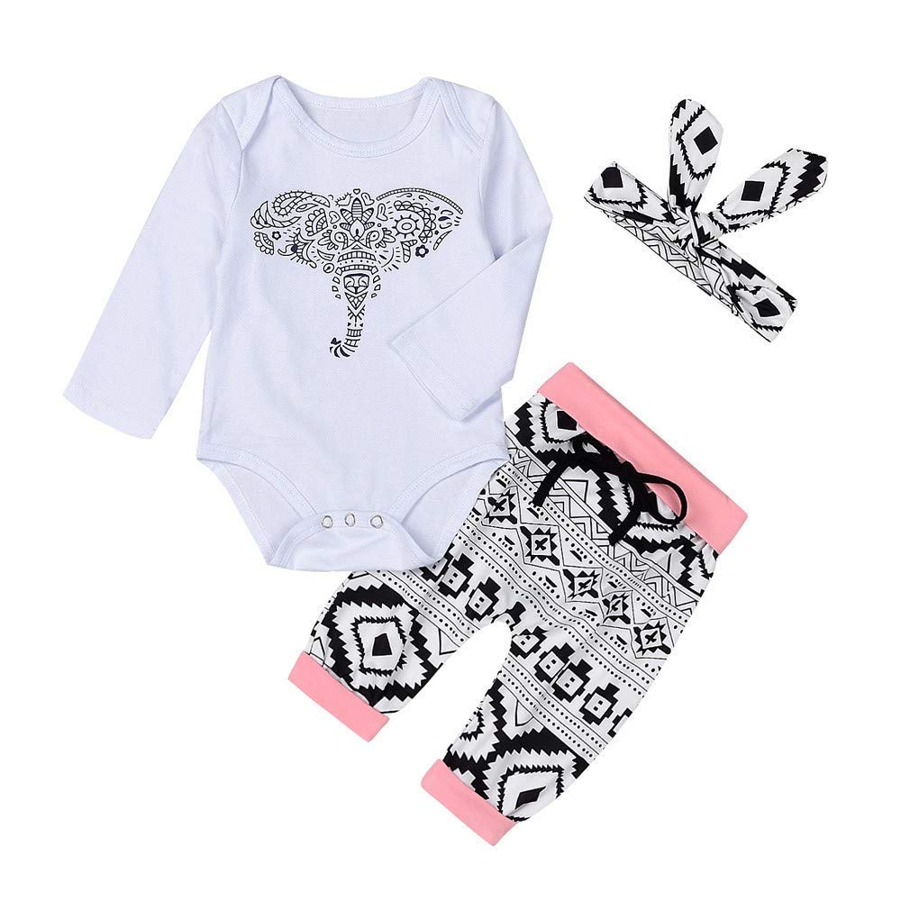 Newborn Toddler Baby Boys Girls Outfits Set Elephant Romper Pants 3PCS (18-24 Months, White)