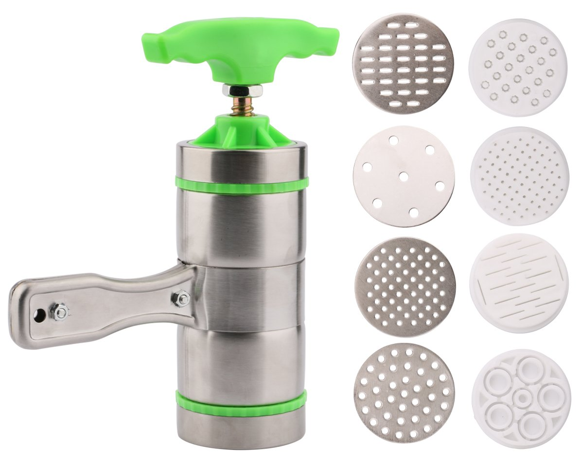 Useekoo Manual Pasta Maker Machine Noodles Press Machine with 9 Moulds Stainless Steel Hand Crank Spaghetti Fettuccine Noodle Dough Press Machine Fruit Juicer Squeezer