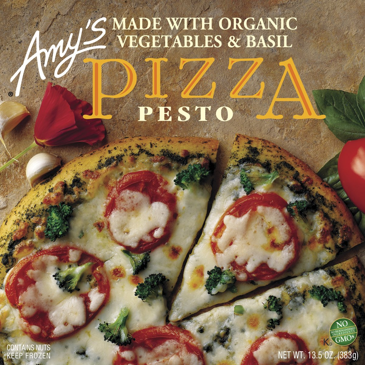 Amy's Pesto Pizza with Tomato & Basil, Organic, 13.5-Ounce Boxes (Pack of 8)