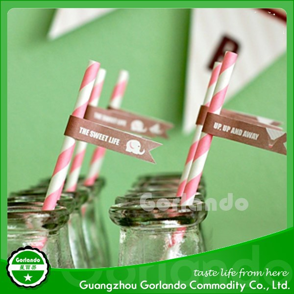 Degradable New Design Disposable Paper Straws Different Patterns