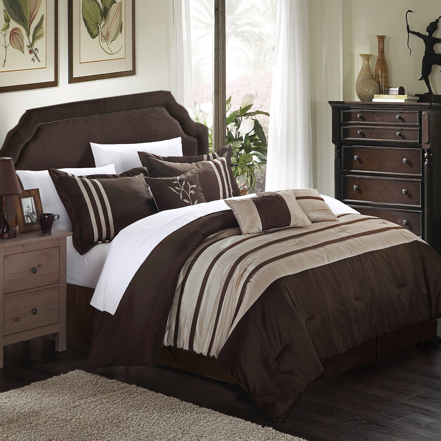Chic Home CS1022-045-AN Torino Pleated Piecing Luxury Bedding Collection 7-Piece Comforter Set Pleated Piecing Luxury Bedding Collection Size; Bed Skirt shams And Decorative Pillows Included, King, Taupe