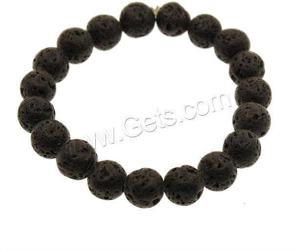 Lava Round Mens All Black Bead Bracelet