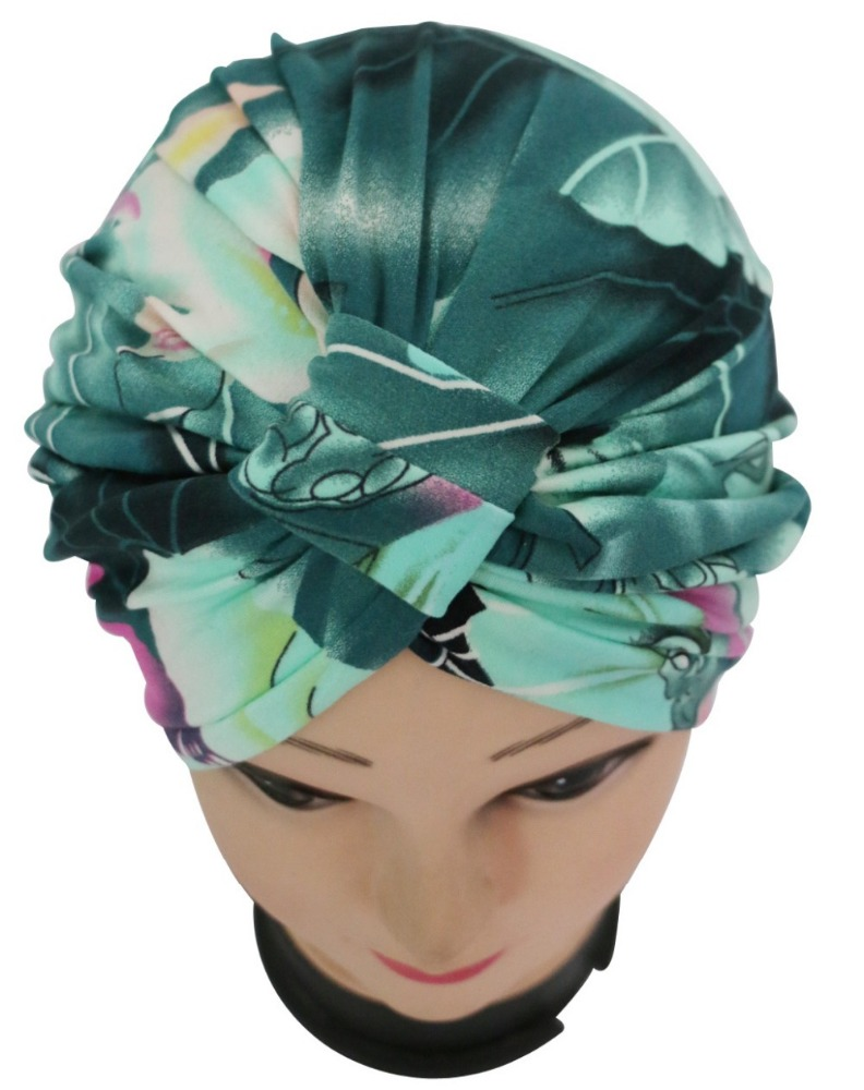 Fashion Vintage Dark Green Floral Print Indian Knot Turban Hat Chemo Cap For Women Ladies