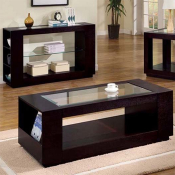 wood coffee table set. CT-188 Modern Glass Teapoy Wood Coffee Table Set B