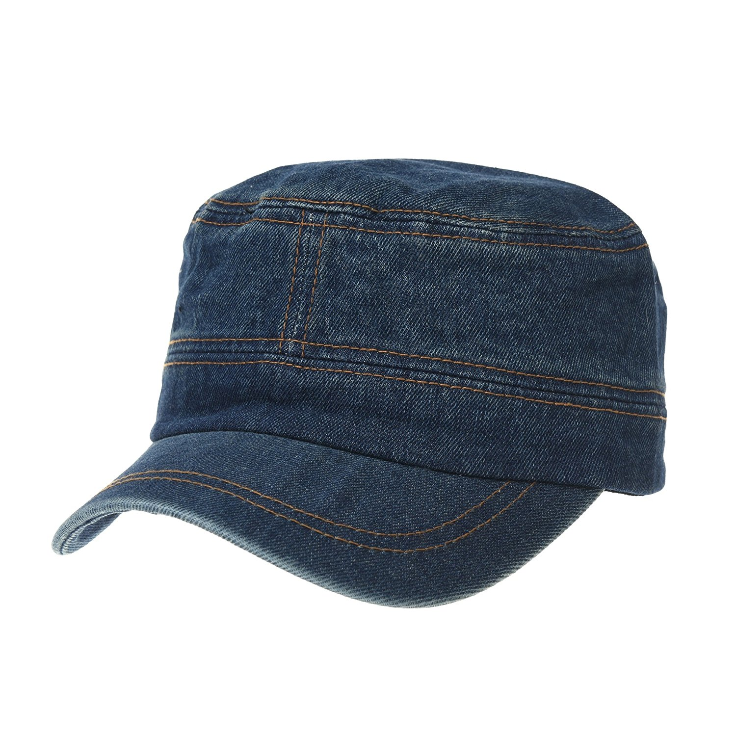 WITHMOONS Army Denim Cadet Cap Cotton Jean Stitch Washed Hat KR4969