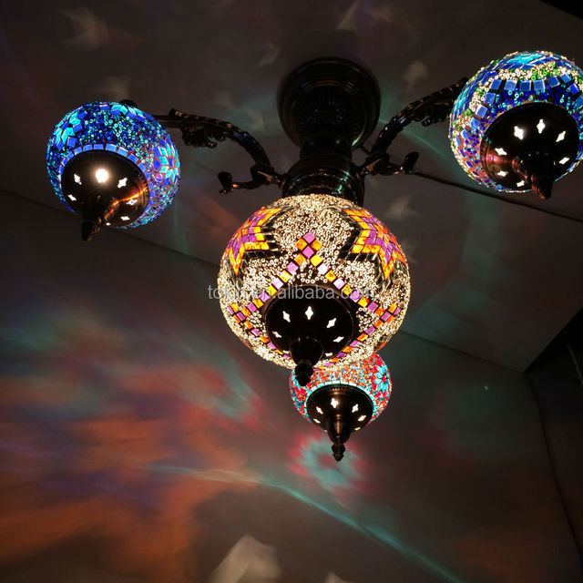 2017 Newdesign Glass Material Handmade Mosaic Art Turkish Style Hanging Lamps Made In China Chandelier