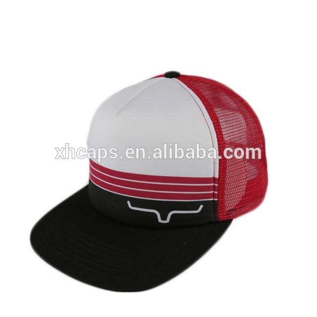bb025a8e19a9 custom flat brim trucker hats mesh cap wholesale 5 panel trucker hat with  printed logo