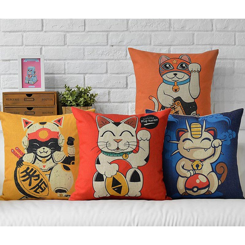 HOT SELL Custom Made Digital Printed Cartoon Home Decorative Lucky Cat Cushion Cover