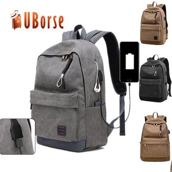 Factory Price Travel Waterproof Mens Shoulder Bag Back Pack Laptop Canvas  USB School Rucksack Backpack 37bb3386d441a