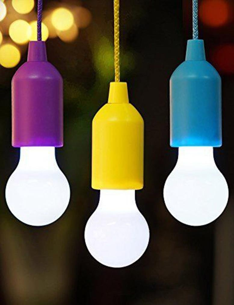 Bright Pull Cord LED Light, Kemilove Portable Outdoor Garden Camping Hanging LED Light Lamp (Blue)