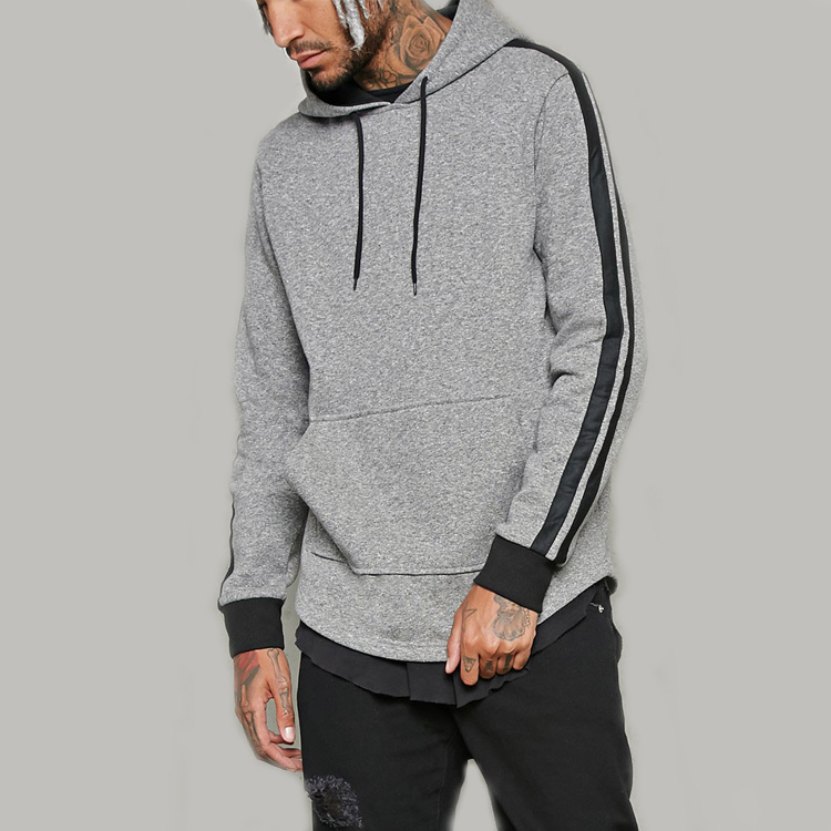 China hoodie factory men's Heathered fabric design Fitted performance gym Hoodie