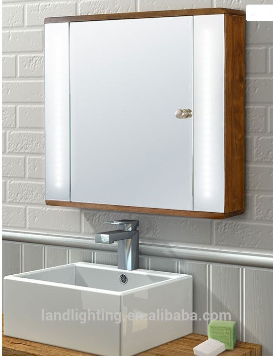 Illuminated Beech Backlit Bathroom Mirror Cabinet With Led Light ...