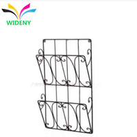 Wall-mounted 2 shelf wire metal magazine story book newspaper display rack