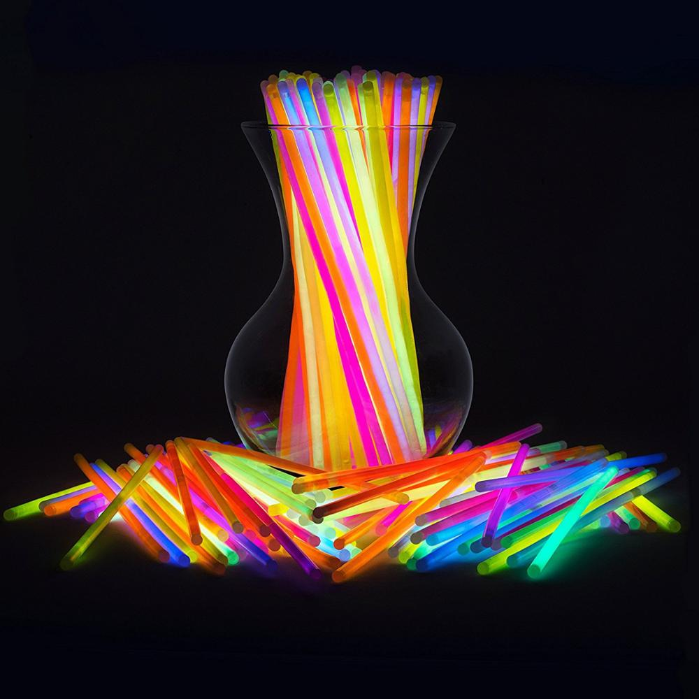 "Glow Sticks 8 ""Glowsticks (Total de 100 pcs Multi Cores) pulseiras Colares Brilho Glow-In-The-Dark Light-up Favores Do Partido Pack"