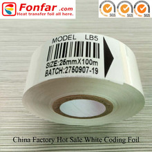 25mm*100m Hot Stamp Printer Coder White Ribbon for Food Packaging Date Stamp Machine