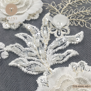 Hand Embroidered Beaded Tulle Lace Fabric