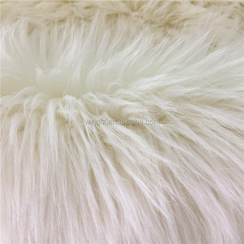 White Plush Long Pile High Hair Faux Fur Fabrics for Winter Garment Chinese Factory Wholesale