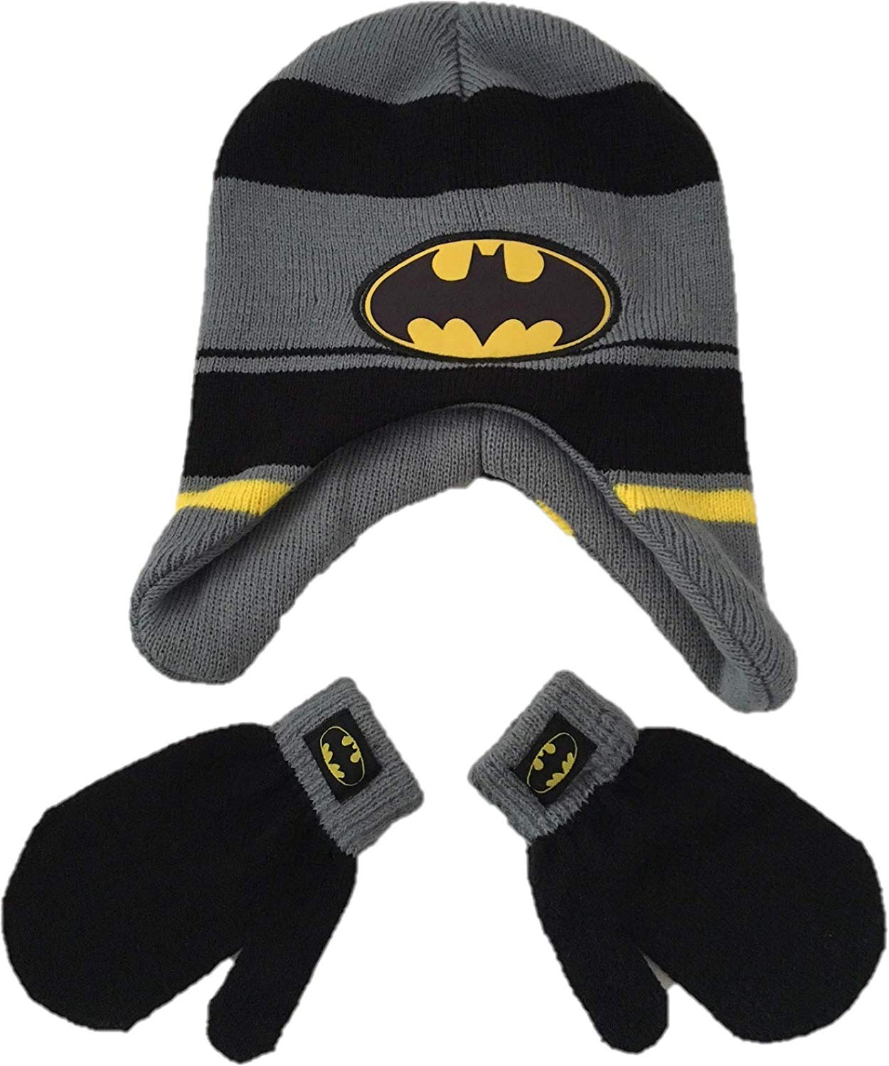66c29b3ff76 Get Quotations · Arctic Trail Trading Batman Earflaps Winter Knit Hat and  Mitten for Kids