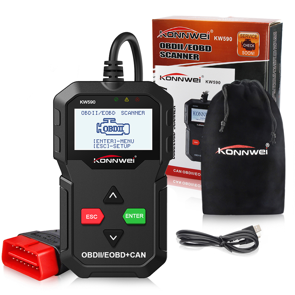Hot Sale OBD 2 OBD2 Auto scanner KONNWEI KW590 Support Multi-languages Full ODB2 Function car Auto Diagnostic Tool