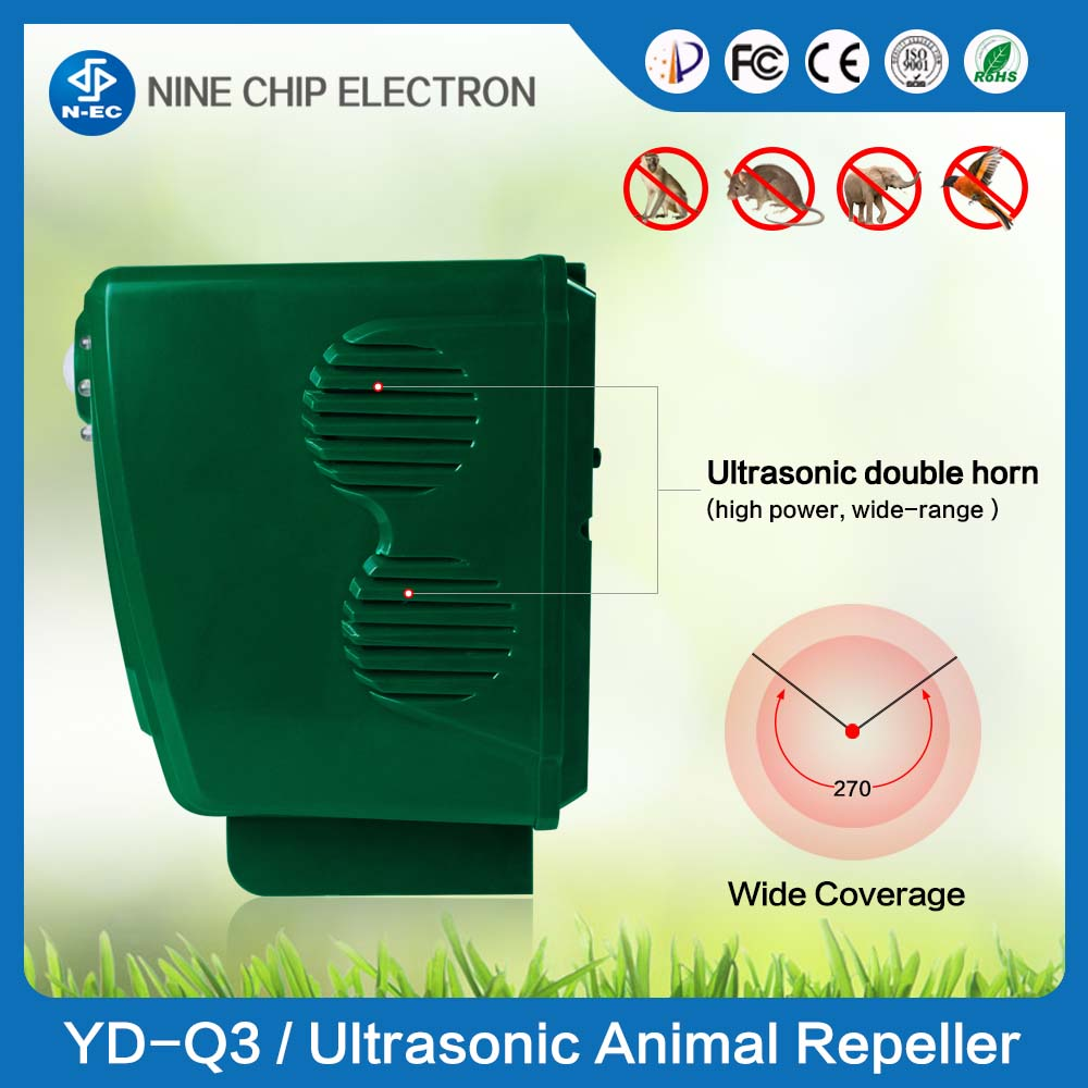 For Good Life Automatic PIR Ultrasonic ultrasonic pest cat bird snake mole repeller for indoor and out door