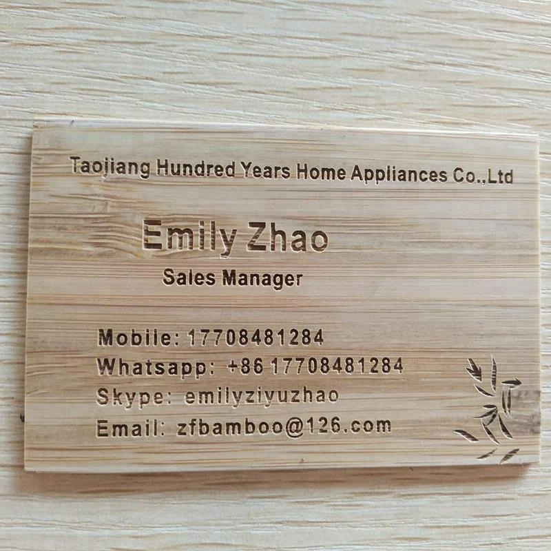 2017 hot sell customized antique wooden engraved bamboo business card