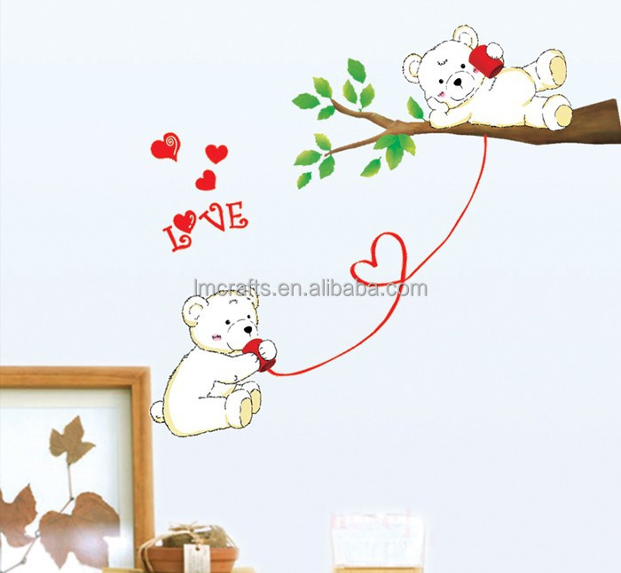 Cartoon bear care phone love tree background Wall stickers kids bedroom love living room sofa TV wedding decoration DM57-0047