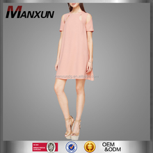 Latest Design Summer Women Clothing Fashion Hollow Out Dress Elegant Knee Length Pink Short Sleeve Tight Chiffon Dress