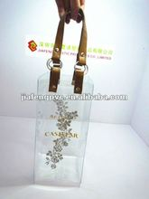 hot sale Transparent Plastic PVC cooler bag with strong brown PU handle for wine bottles
